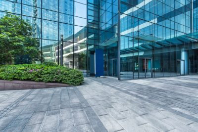 Modern glass commercial office building