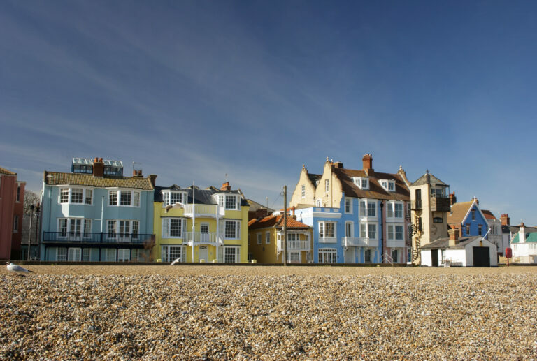 Beachfront properties in Aldeburgh on a sunny day, a property hotspot