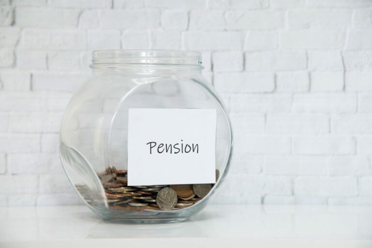 Coin jar for Pensions, saving for retirement due to pensioners being in debt